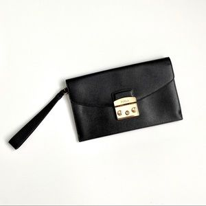 Furla Black & Gold Wristlet